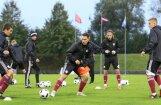 Foto: Latvijas U-21 futbola izlase aizvada treniņu pirms mača ar Skotiju