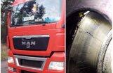Foto: CSDD reidā Garkalnē trim kravas auto noņemtas numurzīmes