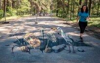 Foto: Uz Mežaparka asfalta radīti 12 jauni 3D mākslas darbi