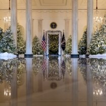 """ФОТО. Белый дом в США """"одели"""" к Рождеству в стиле Трампа — много золота, много зелени"""