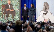 Obamu pāra oficiālie portreti samulsina pasauli