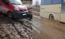 Šķīdonis un iestigušas mašīnas – ziņo 'Delfi Aculieciniekam' par slikto ceļu stāvokli!