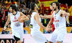 Spānijas basketbolisti trešo reizi pēc kārtas iekļūst EČ finālā