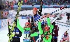 German Laura Dahlmeier celebrates victory women 4x6 km relay