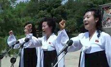 Video: 'Naida minūtēs' ziemeļkorejietes aicina atriebties 'ASV imperiālistiem'