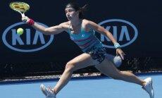 Latvia Anastasija Sevastova hits forehand, Australian Open