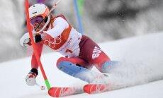 Šveiciete Mišela Gizina papildina ģimenes olimpisko zelta medaļu kolekciju ar uzvaru Alpu kombinācijā