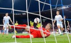 Zurich s Latvian goalkeeper Andris Vanins saves
