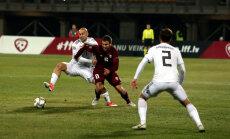 Latvijas futbola izlase UEFA Nāciju līgas spēlē bez ierunām piekāpjas Gruzijai