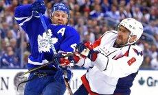 Toronto Maple Leafs forward Leo Komarov (47) and Washington Capitals forward Alex Ovechkin