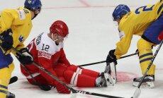 Latvijas pretiniece pasaules hokeja čempionātā Dānija zaudē Zviedrijai