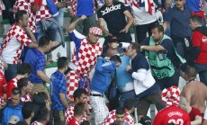 Croatia fans clash during the game