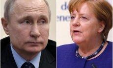Merkele vēlas 'pārskatāmā nākotnē' tikties ar Putinu