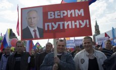 Maskavā aiztur opozīcijas aktīvistus ar Ukrainas karogu