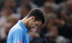 Novak Djokovic Serbia reacts after loosing Marin Cilic Croatia