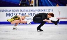 Krievijas pāris Tarasova/Morozovs nosargā Eiropas čempionu titulu daiļslidošanā