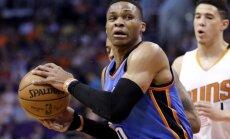 Vestbruks kļūst par otro spēlētāju NBA vēsturē, kurš tiek pie sezonas 'triple-double'