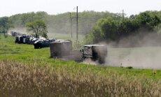 Foto: Netālu no Ukrainas robežas Krievijā pamana militāro konvoju un 'Uragan' sistēmas
