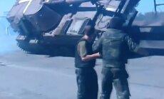 Video: Austrumukrainā apgāžas pašgājējlielgabals