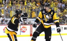 Evgeni Malkin Pittsburgh Penguins celebrates with Trevor Daley