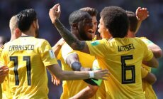 Beļģijas futbolisti gūst piecus vārtus un droši apspēlē Tunisiju