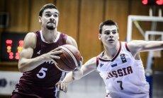 Latvijas U-20 basketbolisti uzvar Krieviju un atgriežas A divīzijā