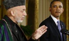 Obama un Karzajs pieļauj ASV spēku palikšanu Afganistānā arī pēc 2014.gada