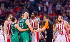Foto: 'Žalgiris' pārsteidz Strēlnieku un 'Olympiacos'; Timmas un Mālmaņa 'Baskonia' zaudē Stambulā