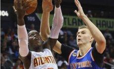 Porziņģim skaists 'danks', 15 punkti un sešas piezīmes; 'Knicks' ceturtajā pagarinājumā zaudē 'Hawks'