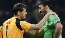 Juventus Gianluigi Buffon with FC Porto s Iker Casillas