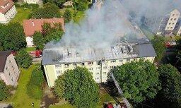 ФОТО и ВИДЕО: взрыв газа привел к пожару в таллинской четырехэтажке