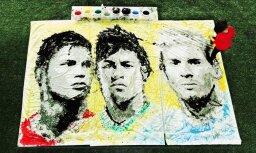Video: Māksliniece ar futbolbumbu uzglezno Ronaldo, Neimaru un Messi