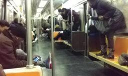 ВИДЕО: Крыса в вагоне нью-йоркского метро вызвала панику у пассажиров