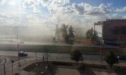 ФОТО, ВИДЕО: В Риге недалеко от магазина Elkor Plaza возник пожар повышенной опасности