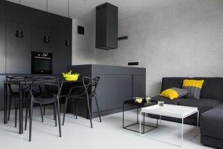 Foto: Vīrišķīgs mājīgums melnbaltā dzīvoklī ar košiem 'pipariņiem'