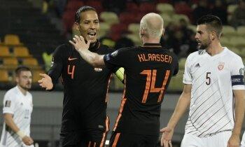 Latvijas futbolisti spēles izskaņā parūpējas par intrigu pret Nīderlandi