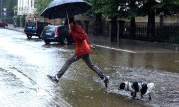 Ļaudis sūrojas par applūdušajām Rīgas ielām; pilsētā sāk lielāko peļķu susināšanu
