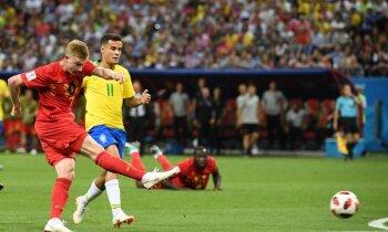 Beļģija sīvā cīņā izslēdz Brazīliju no Pasaules kausa un otro reizi iekļūst pusfinālā