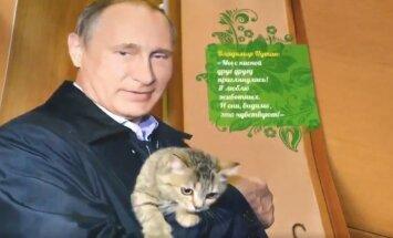 Putins kaķēna mugurā – asprāši metas izsmiet Krievijas prezidenta kalendāru