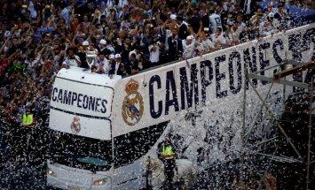 Video: 'Real Madrid' un fanu tūkstoši svin triumfu Čempionu līgā