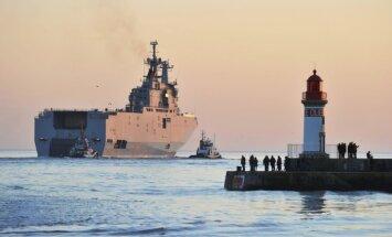 Francijā ūdenī nolaists otrs 'Mistral' klases kuģis