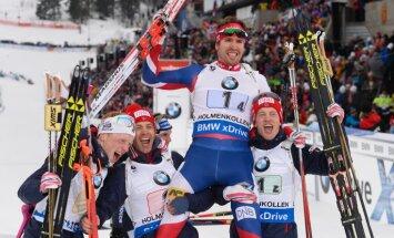 Norway Johannes Tingnes Boe, Ole Einar Bjoerndalen, Emil Hegle Svendsen and Tarjei Boe