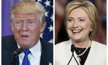 Klintonei un Trampam aptaujās mainīgas sekmes