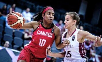 Foto: Latvijas U-17 meiteņu basketbola izlase Pasaules kausa finālturnīra pirmajā spēlē zaudē Kanādai