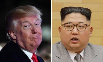 'Arī man ir kodolpoga': Tramps brīdina 'raķešvīru Kimu'