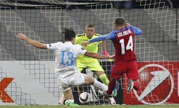 Steaua Bojan Golubovic scores Andris Vanin FC Zurich