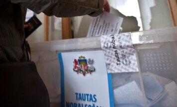 Referendumā balsošanas kastēs iemesti arī lati, eiro un rubļi