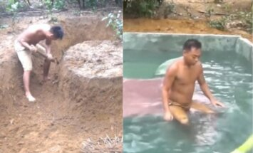 Interneta hits: Vīrieši ar rokām izrok bedri un izveido iespaidīgu baseinu