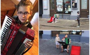 9 gadus veca meitene, muzicējot uz ielas, nopelna sev jaunu akordeonu; par un pret viedokļi