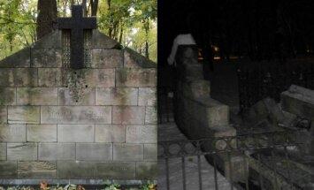 Sniega tīrītājs Lielajos kapos sabojājis vēsturisku pieminekli